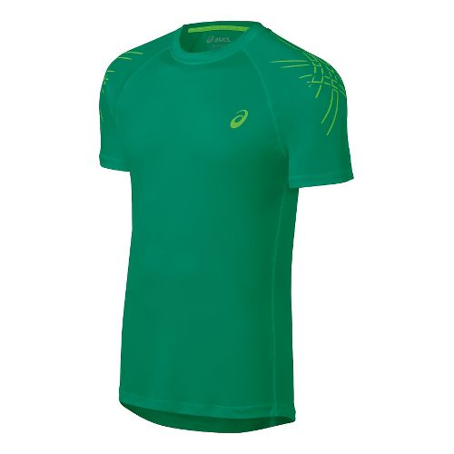 Mens ASICS Stripes Short Sleeve Technical Tops - Jungle Green XXL