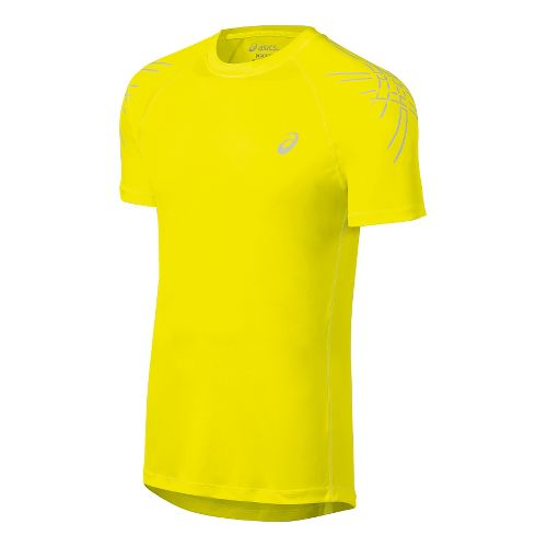 Mens ASICS Stripes Short Sleeve Technical Tops - Safety Yellow XL