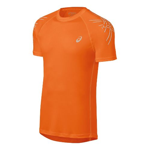 Mens ASICS Stripes Short Sleeve Technical Tops - Shocking Orange XL