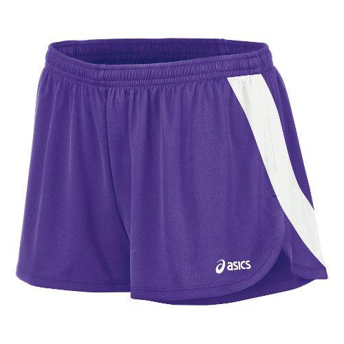Womens ASICS Break Through 1/2 Split Shorts - Purple/White L