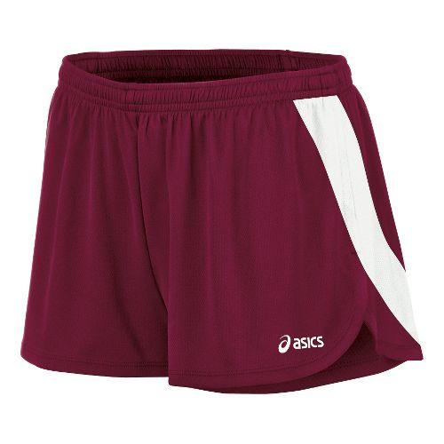 Womens ASICS Break Through 1/2 Split Shorts - Cardinal/White L