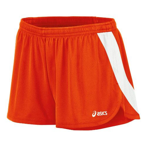 Womens ASICS Break Through 1/2 Split Shorts - Orange/White S