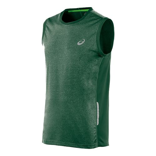 Mens ASICS FujiTrail Sleeveless Technical Tops - Oak Green XL