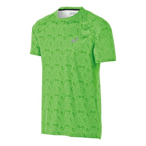 Mens ASICS FujiTrail Light Short Sleeve Technical Tops - Green Print S