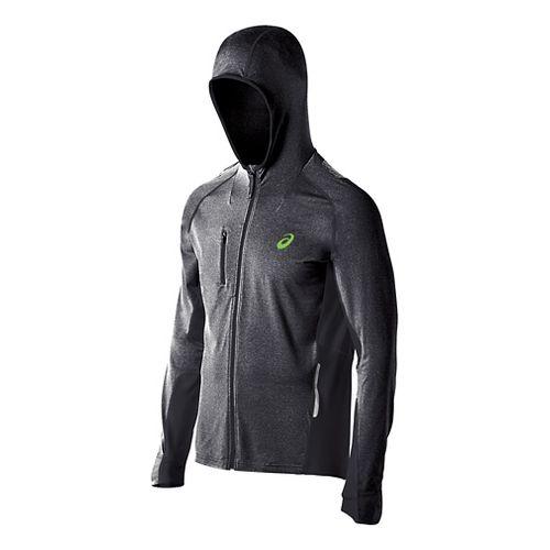 Mens ASICS FujiTrail Warm Up Hooded Jackets - Black Heather L