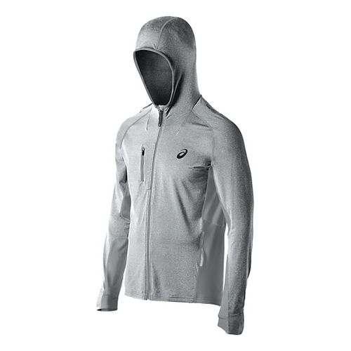 Mens ASICS FujiTrail Warm Up Hooded Jackets - Heather Grey XXL