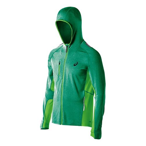 Mens ASICS FujiTrail Warm Up Hooded Jackets - Green Heather L