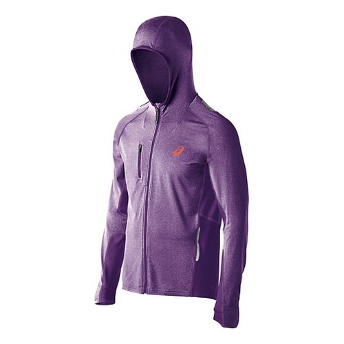 Mens ASICS FujiTrail Warm Up Hooded Jackets - Purple Heather S