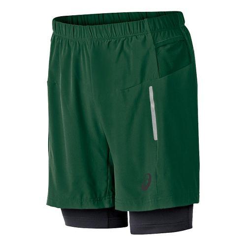 Mens ASICS FujiTrail 2-N-1 Lined Shorts - Oak Green M