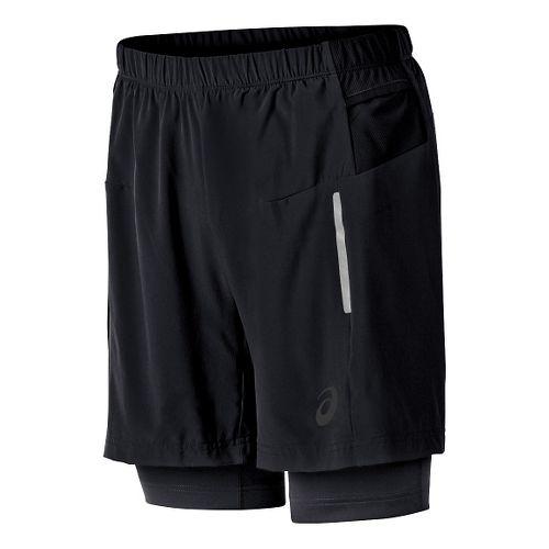 Mens ASICS FujiTrail 2-N-1 Lined Shorts - Black XXL