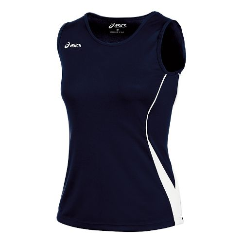 Womens ASICS Baseline Jersey Sleeveless Technical Tops - Navy/White XS