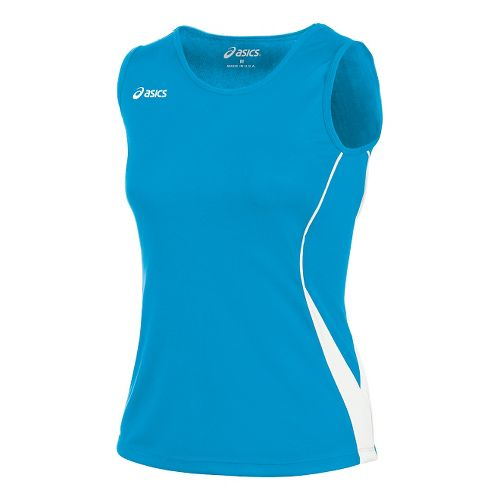 Womens ASICS Baseline Jersey Sleeveless Technical Tops - Atomic Blue/White S