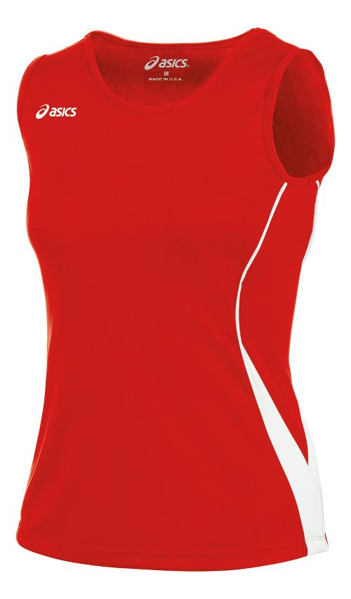 Womens ASICS Baseline Jersey Sleeveless Technical Tops - Red/White XXL