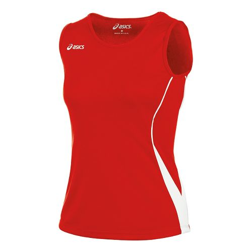 Womens ASICS Baseline Jersey Sleeveless Technical Tops - Red/White M