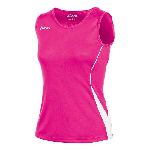 Womens ASICS Baseline Jersey Sleeveless Technical Tops - Pink Glo/White XXL