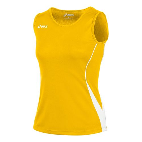 Womens ASICS Baseline Jersey Sleeveless Technical Tops - Gold/White M