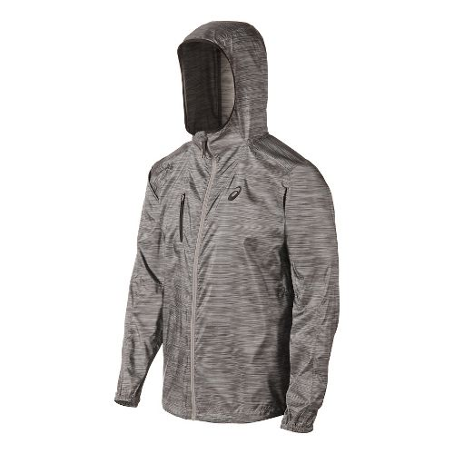 Mens ASICS FujiTrail Packable Warm Up Hooded Jackets - Heather Print XXL