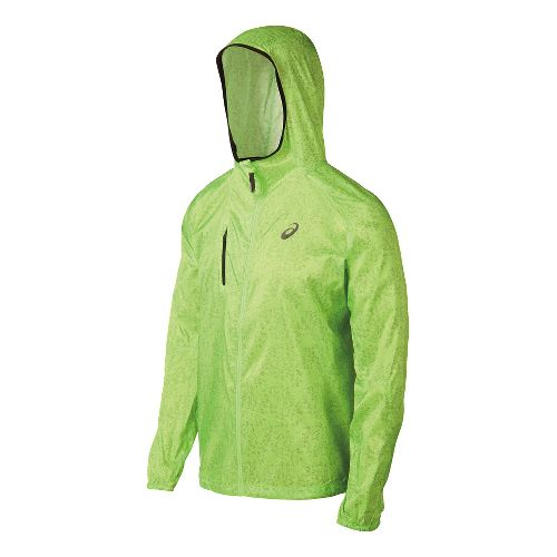 Mens ASICS FujiTrail Packable Warm Up Hooded Jackets - Green Print L