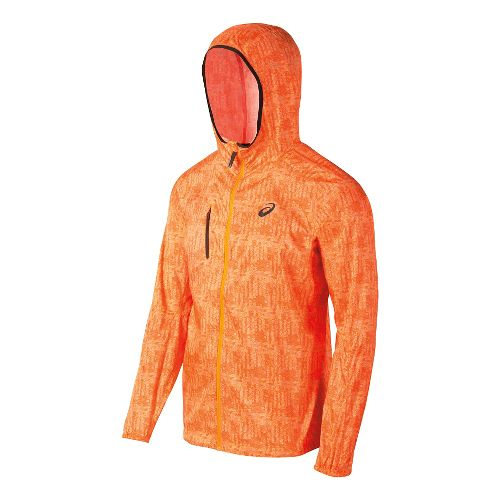 Mens ASICS FujiTrail Packable Warm Up Hooded Jackets - Orange Print M