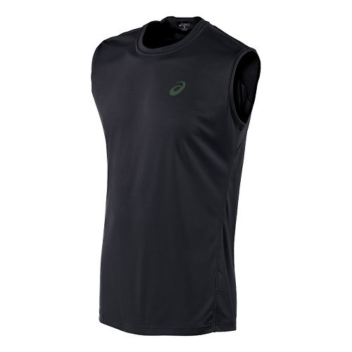 Mens ASICS Train Sleeveless Technical Tops - Black XL