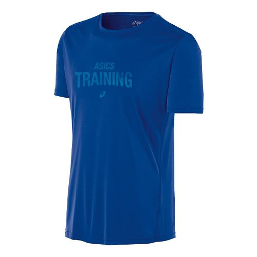 Mens ASICS Train Graphic Tee Short Sleeve Technical Tops - Air Force Blue M