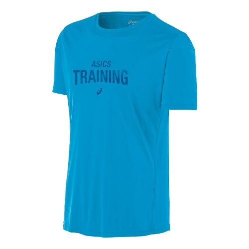 Mens ASICS Train Graphic Tee Short Sleeve Technical Tops - Atomic Blue S