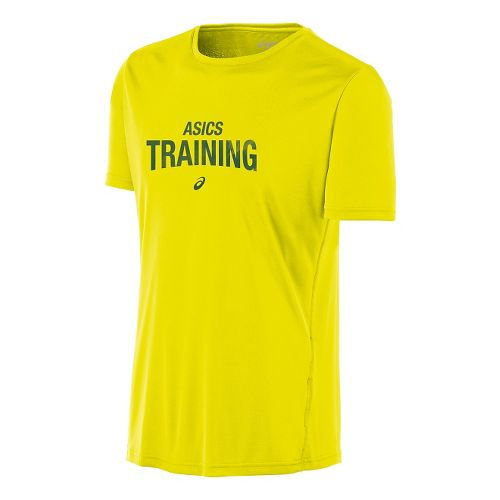 Mens ASICS Train Graphic Tee Short Sleeve Technical Tops - Safety Yellow XL