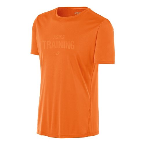 Mens ASICS Train Graphic Tee Short Sleeve Technical Tops - Shocking Orange L