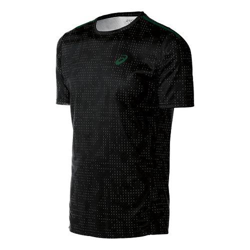 Mens ASICS Train Print Tee Short Sleeve Technical Tops - Black Grid L