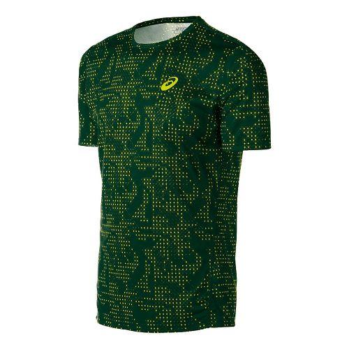 Mens ASICS Train Print Tee Short Sleeve Technical Tops - Oak Green Grid L