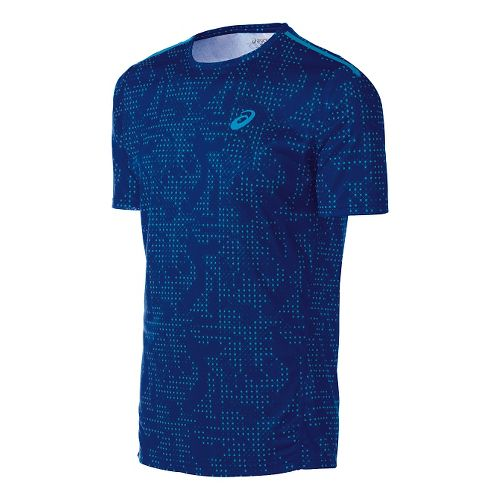 Mens ASICS Train Print Tee Short Sleeve Technical Tops - Air Force Blue Grid M ...