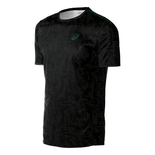 Mens ASICS Train Print Tee Short Sleeve Technical Tops - Black Grid XL