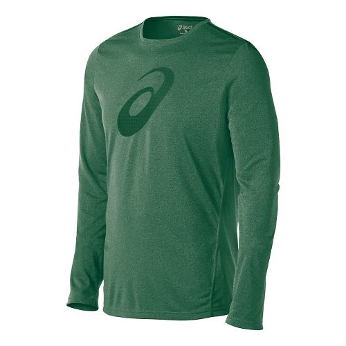 Mens ASICS Train Graphic Tee Long Sleeve No Zip Technical Tops - Oak Green M ...