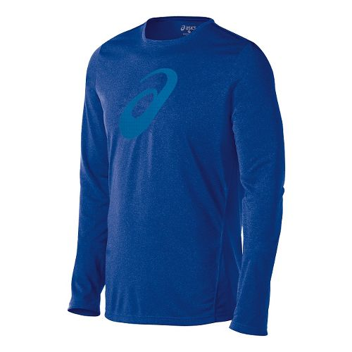 Mens ASICS Train Graphic Tee Long Sleeve No Zip Technical Tops - Air Force Blue ...