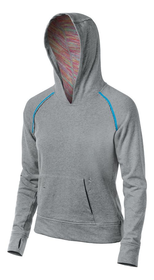 Womens ASICS Coral Warm Up Hooded Jackets - Heather Grey L