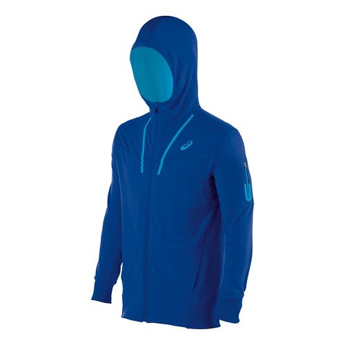 Mens ASICS Train Full Zip Warm Up Hooded Jackets - Air Force Blue XXL