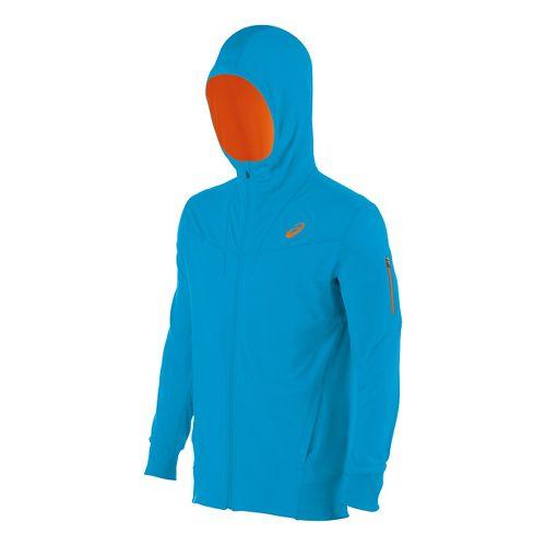 Mens ASICS Train Full Zip Warm Up Hooded Jackets - Atomic Blue M