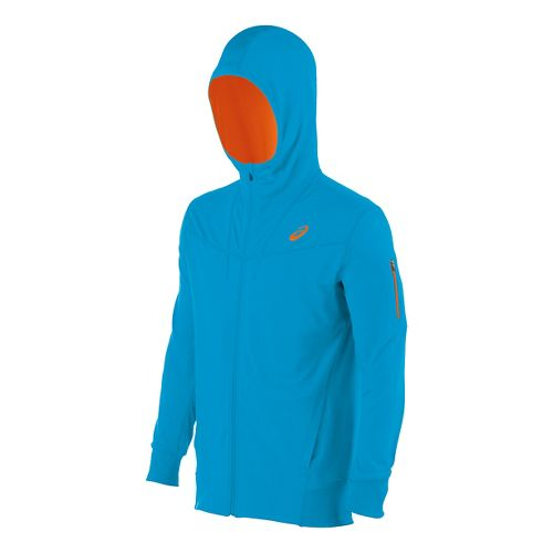 Mens ASICS Train Full Zip Warm Up Hooded Jackets - Atomic Blue S