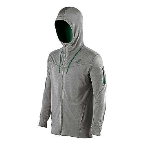 Mens ASICS Train Full Zip Warm Up Hooded Jackets - Dark Grey XL