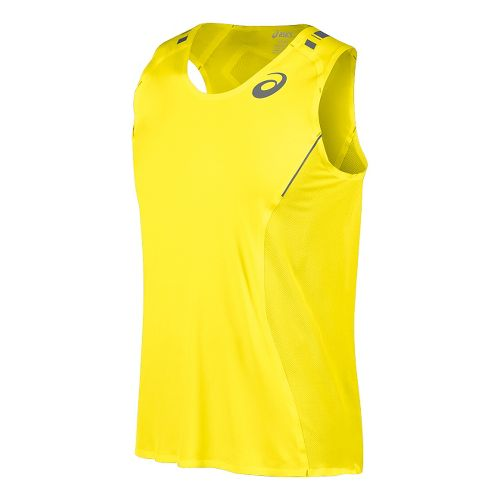 Mens ASICS Top Impact Singlet Tank Technical Tops - Safety Yellow M