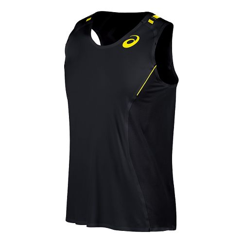Mens ASICS Top Impact Singlet Tank Technical Tops - Black M