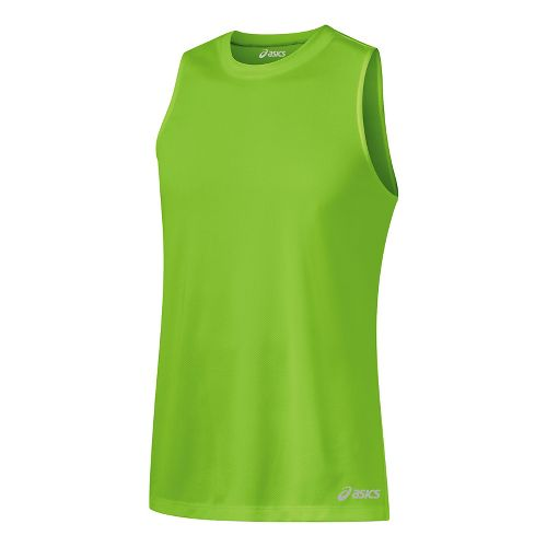 Mens ASICS Ready-Set Singlet Sleeveless & Tank Tops Technical Tops - Green Gecko L