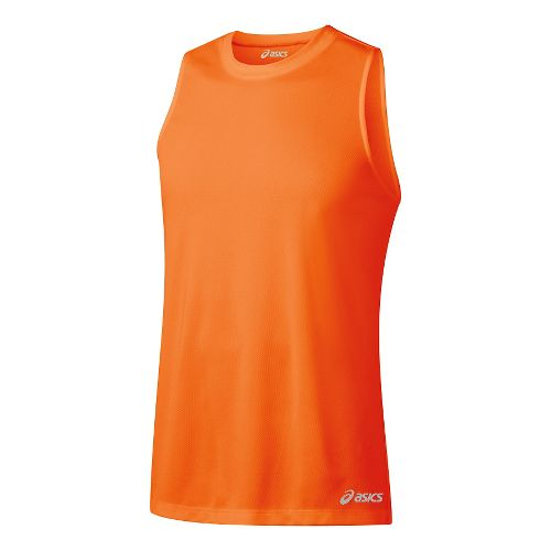 Mens ASICS Ready-Set Singlet Sleeveless & Tank Tops Technical Tops - Shocking Orange L