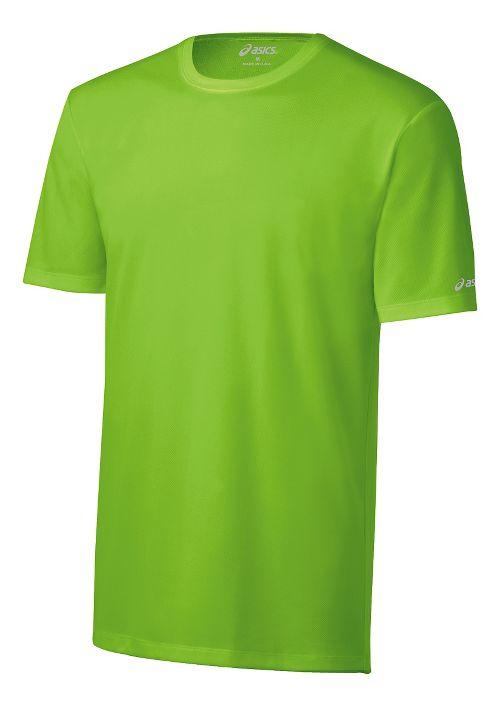 Mens ASICS Ready-Set Short Sleeve Technical Tops - Green Gecko L