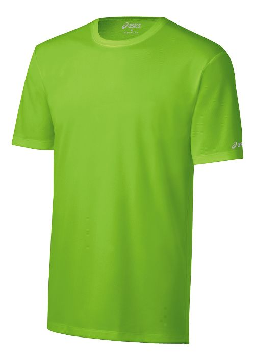 Mens ASICS Ready-Set Short Sleeve Technical Tops - Green Gecko M