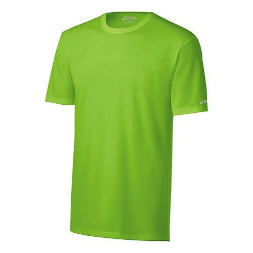 Mens ASICS Ready-Set Short Sleeve Technical Tops - Green Gecko S