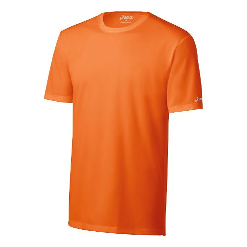 Mens ASICS Ready-Set Short Sleeve Technical Tops - Shocking Orange M