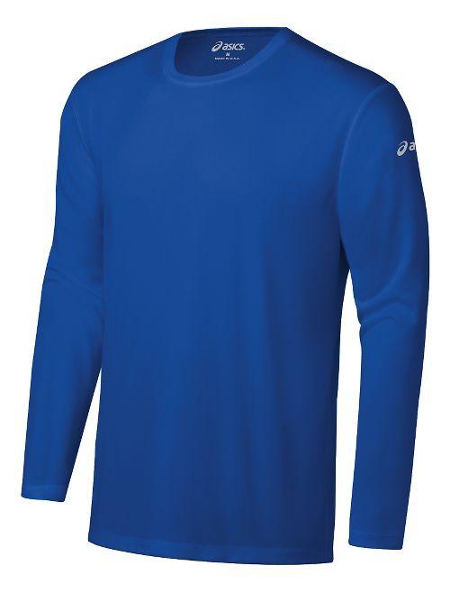 Mens ASICS Ready-Set Long Sleeve Technical Tops - New Blue XL