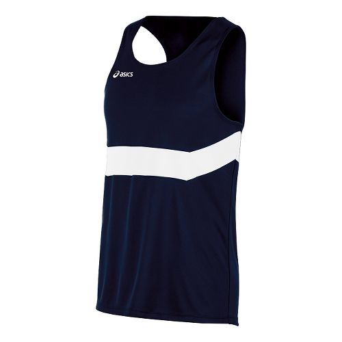 Mens ASICS Break Through Singlet Tank Technical Tops - Navy/White L