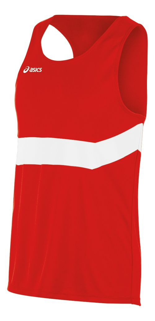 Mens ASICS Break Through Singlet Tank Technical Tops - Red/White L